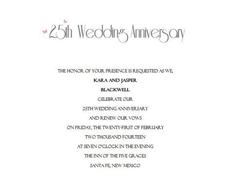 25th anniversary invitation templates 25th wedding anniversary invitations 10 wording free