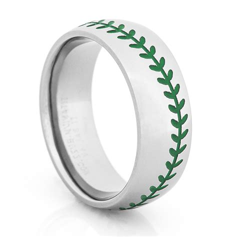 Wedding Rings With Color by Titanium Baseball Wedding Ring With Color Stitching