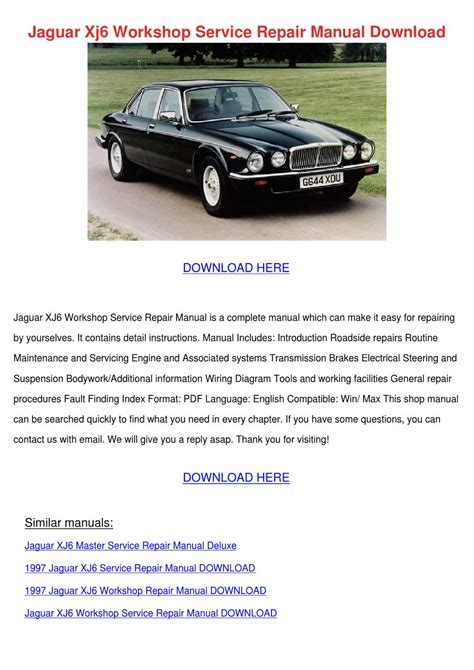 Jaguar Xj6 Workshop Service Repair Manual Dow By