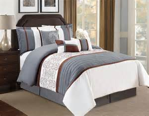 Pleated Comforter by 7 Floral Pleated Gray Ivory Comforter Set Ebay