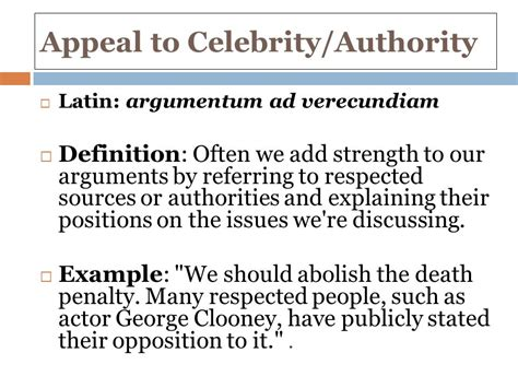 celebrity fallacy definition continuing our foray into the world of argument ppt