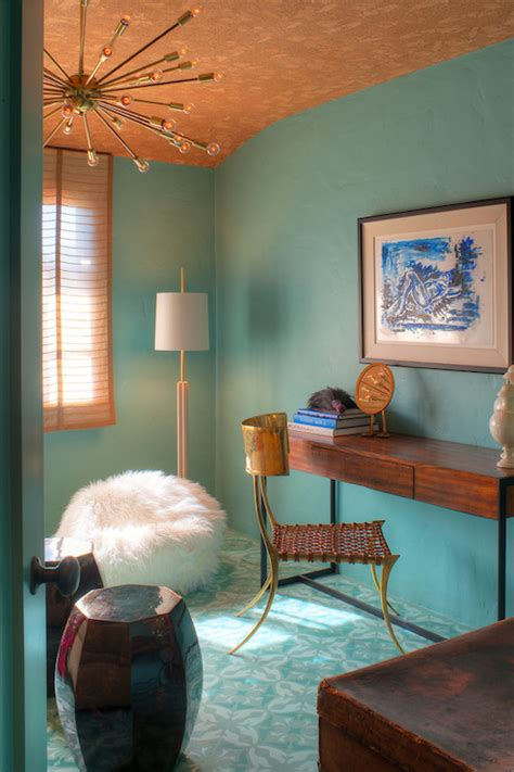 copper accents interior design ideas and decorating ideas for home decoration turquoise paint colors eclectic den library office