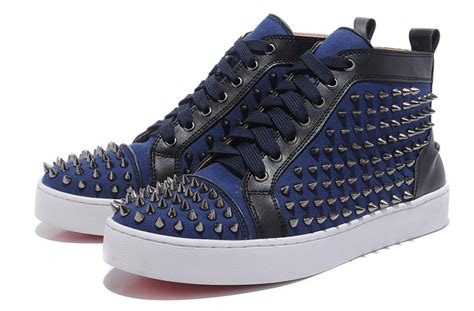 blue louboutin sneakers christian louboutin mens studded sneakers blue 150 00
