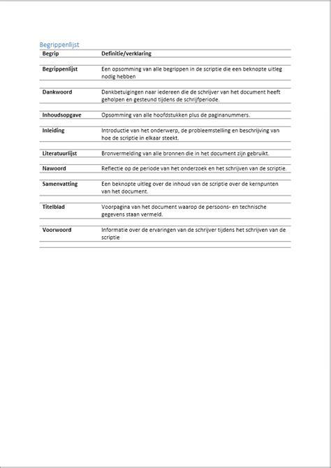 voorbeeld layout artikel begrippenlijst van een scriptie