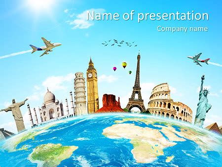 Travel Tour Powerpoint Template Backgrounds Id 0000005360 Smiletemplates Com Tourism Powerpoint Template