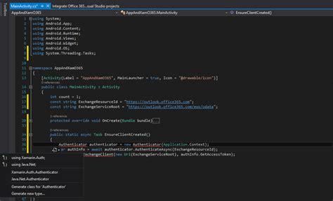 xamarin oauth tutorial xamarin android office 365 authentication