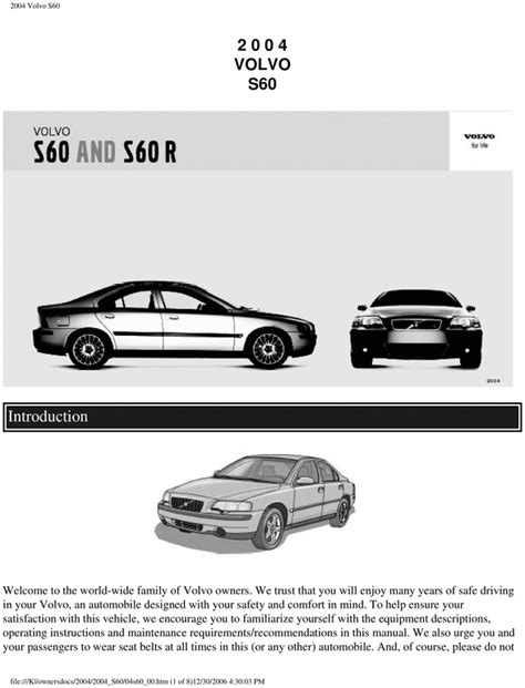 Volvo S60 S 60 2004 Operators Owners User Guide Manual