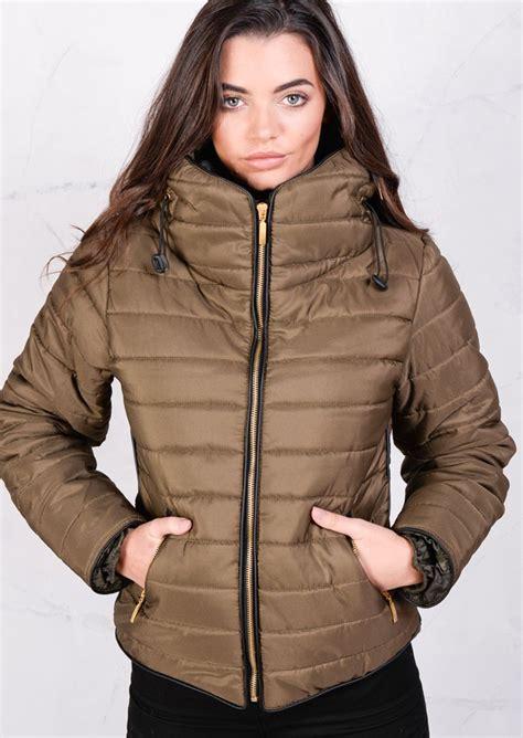 Puffer Coat lightweight quilted puffer padded jacket coat khaki