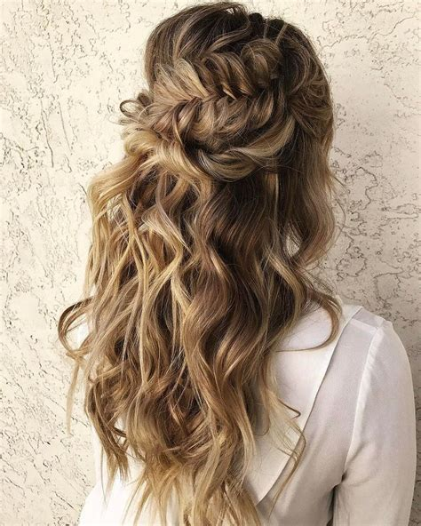 Wedding Hair Braids Half Up by Beautiful Half Half Up Braided Hairstyle With Curls