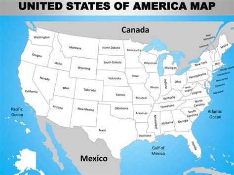 america map oceans usa country editable powerpoint maps with states and counties