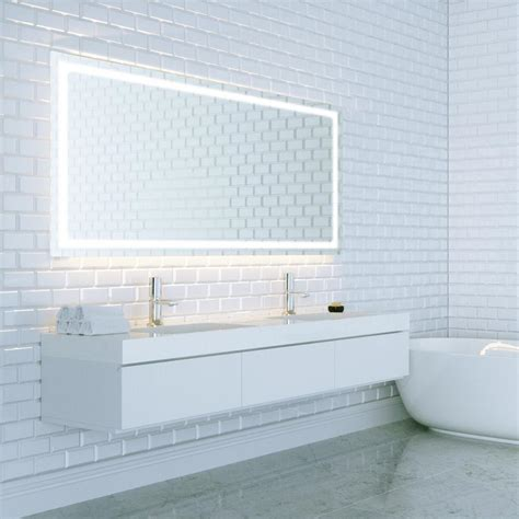 36 X 48 Bathroom Mirror Dyconn Swan 48 In W X 36 In H Led Backlit Vanity Bathroom Led Mirror Touch On Dimmer