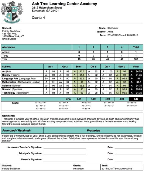 high school student report card template ash tree learning center academy report card template school management student information