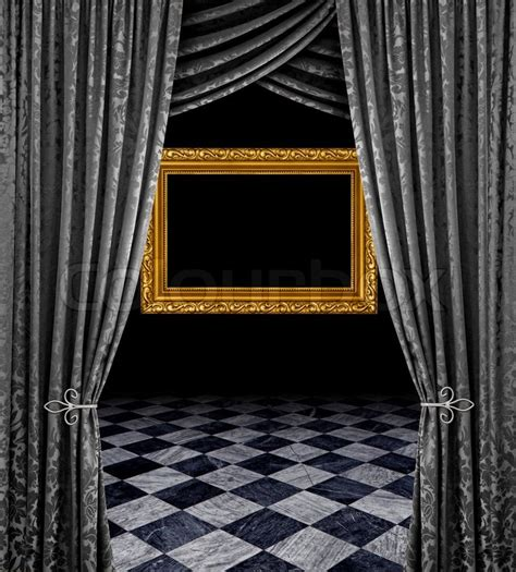 black theatre curtains silver stage curtains reveal frame and checkered marble