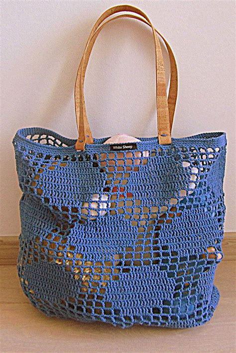 Tas Ecobags Trendy Eco Frendly Borneo Ecobags Trendy handmade blue polka dots crochet bag tote with cork skin