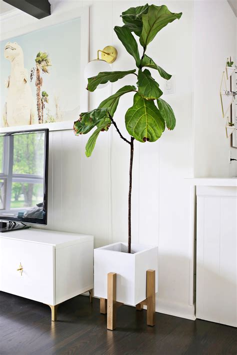 wooden mid century plant stand diy  beautiful mess