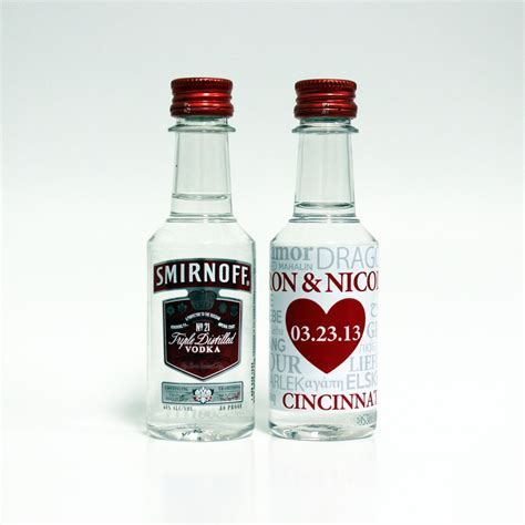 50 Custom Smirnoff Vodka Mini Liquor Bottle Labels Wedding