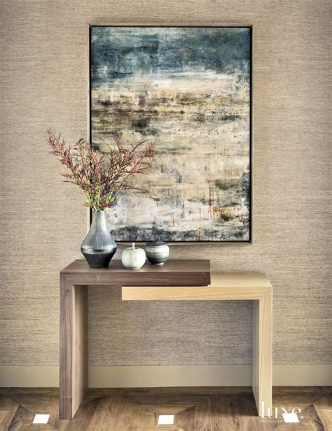 dark grass cloth wallpaper marks  foyer contemporary