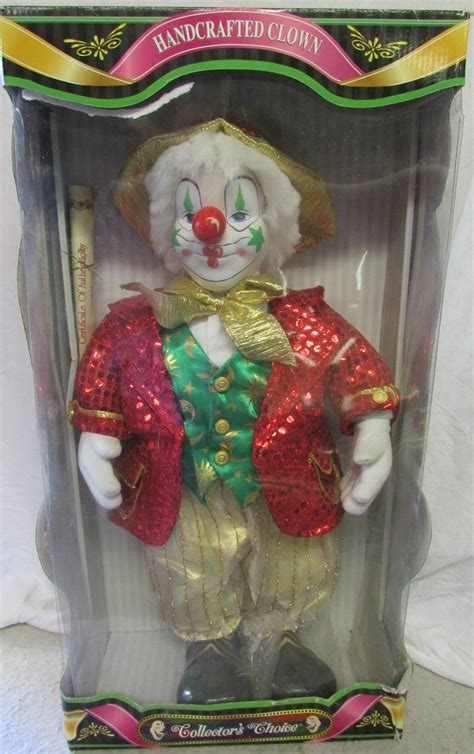 Handcrafted Porcelain Doll - nip collectible handcrafted porcelain clown doll by