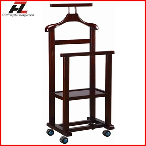 mobile valet dual rail wood mobile clothes valet stand with four