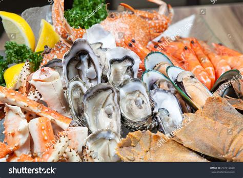 seafood buffet oyster and alaska king crab in hotel