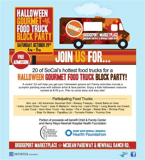 gourmet food trucks wrangle for halloween block party