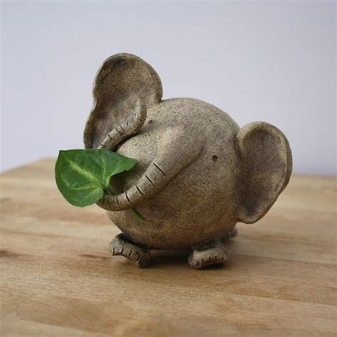 Elephant Handmade - happy ceramic elephant small white handmade clay elephant