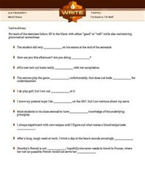 Vs Well Worksheet by I M Vs I M Well 5th 10th Grade Worksheet Lesson