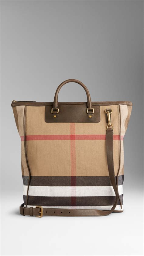 Ripcurl Kanvas Brown burberry large canvas check and leather tote bag in brown