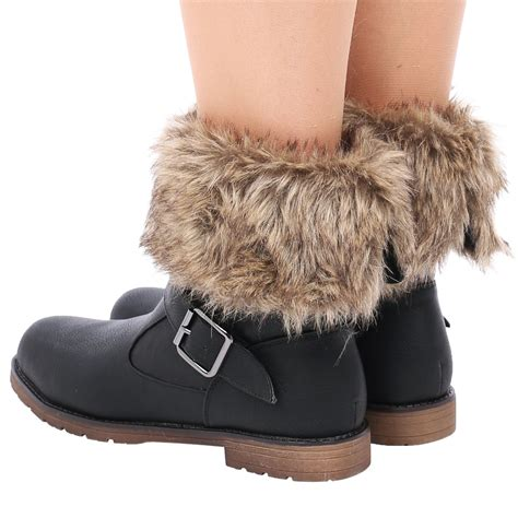 boots with fur d9z womens fur collar warm winter flat pull on