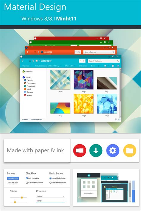 design themes windows 7 material design theme for windows 8 1 windows10 themes i