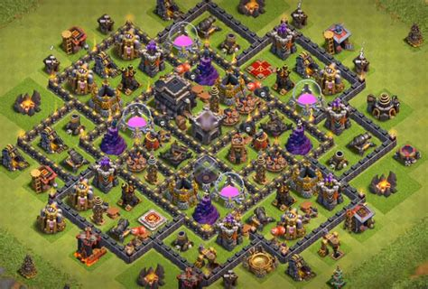 update layout coc top 10 best th9 defense base 2018 new update bomb tower