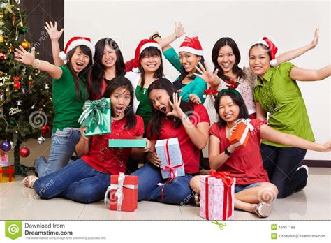 christmas group shot of asian people royalty free stock