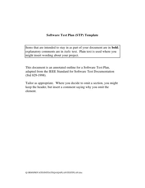 ieee 829 test strategy template ieee test plan template