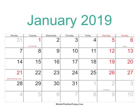 printable calendar january 2019 january 2019 calendar printable with holidays