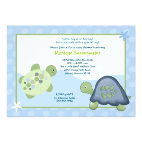 Turtle Baby Shower Invitations by Turtle Reef Baby Shower Invitation Light Blue Zazzle