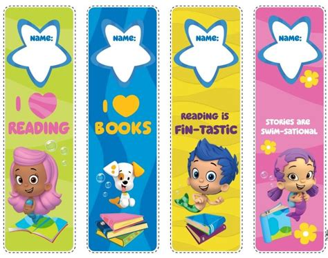 printable bookmark card stock bubble guppies bookmarks just print onto card stock paper