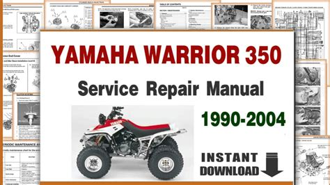 yamaha warrior 350 service repair manual 1990 to 2004