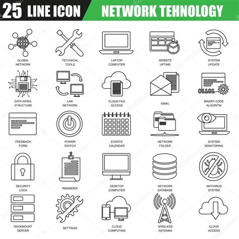 Thin Line Set Of 2 Thin Line Icons Set Of Cloud Computing Data Network Technology Services Global Connection