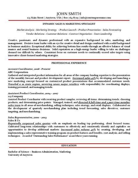 marketing resume sles 2013 sales marketing specialist resume traditional variation