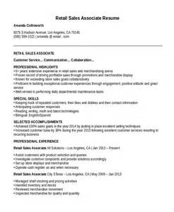 resume sles for retail sales associate resume template 8 free word pdf