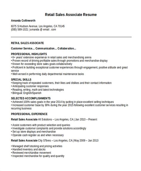 resume sles retail sales associate resume template 8 free word pdf