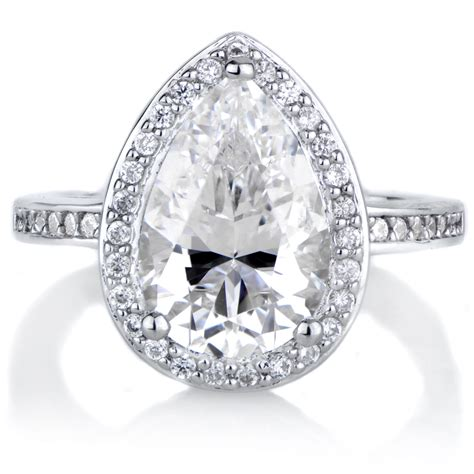 analisse s cubic zirconia pear cut halo engagement ring