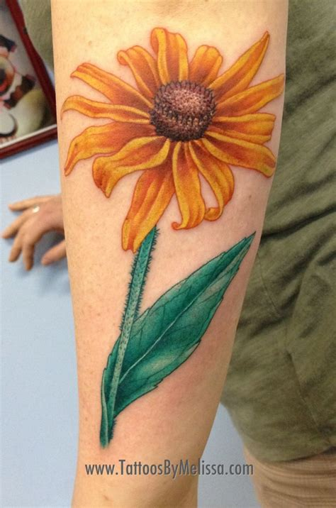 anchorage tattoo black eyed susan flower by capo in