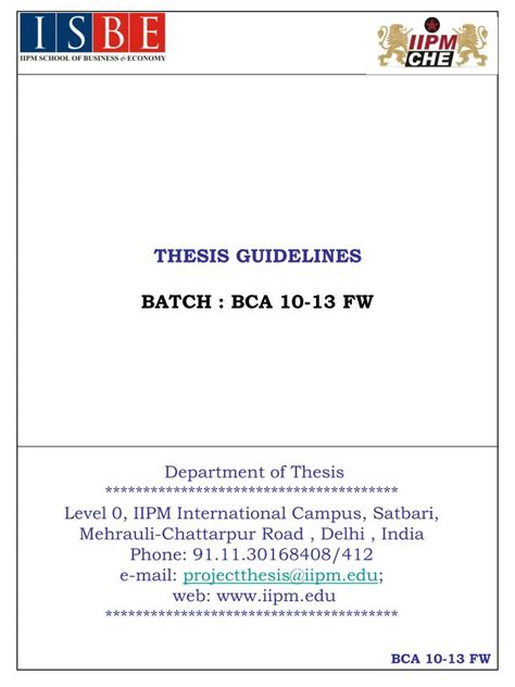 thesis guidelines ppt thesis guidelines batch bca 10 13 fw powerpoint