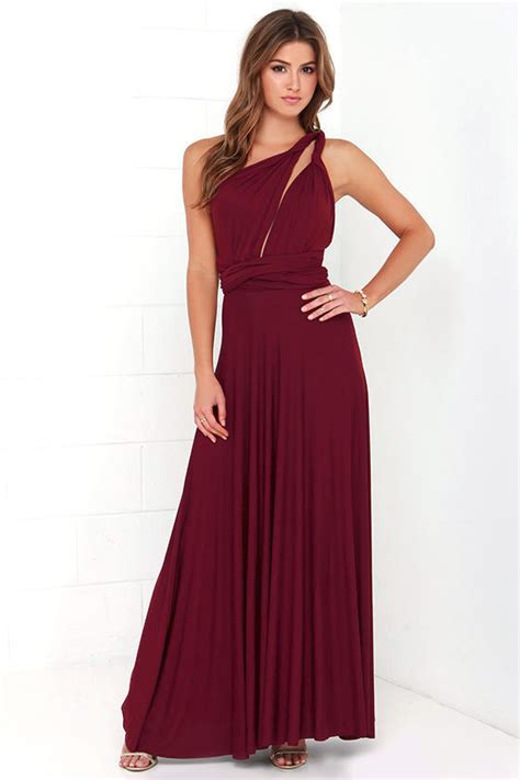 Ghaida Simple Choker Dress Maroon awesome burgundy dress maxi dress wrap dress 68 00