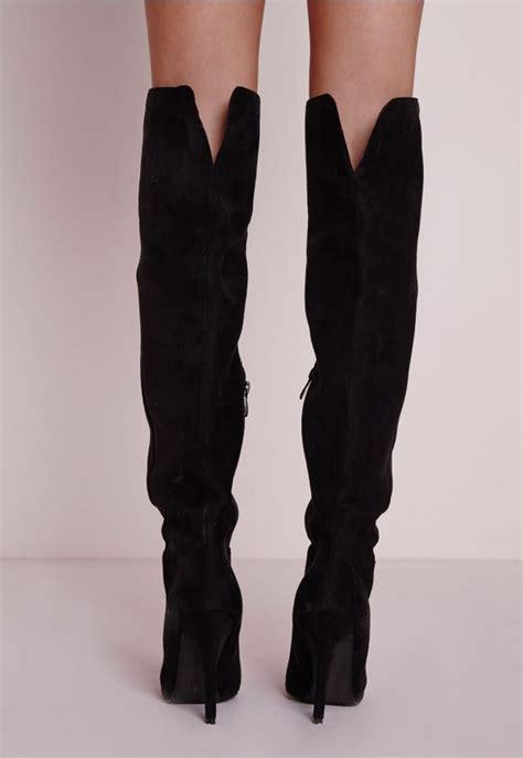 knee high black suede high heel boots kate faux suede knee high heeled boots shoes missguided