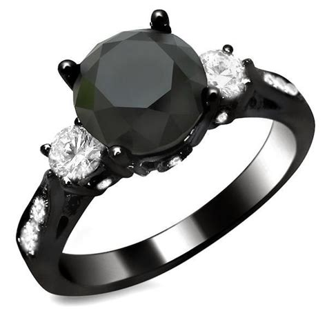 Golden Black Sapphire 18 10ct 2 10ct black 3 engagement ring 18k