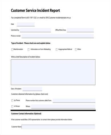 Customer Incident Report Form Template Customer Incident Form Bing Images