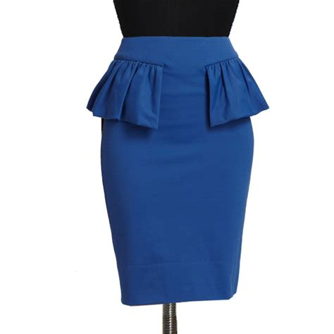 blue peplum pencil skirt custom fit handmade fully