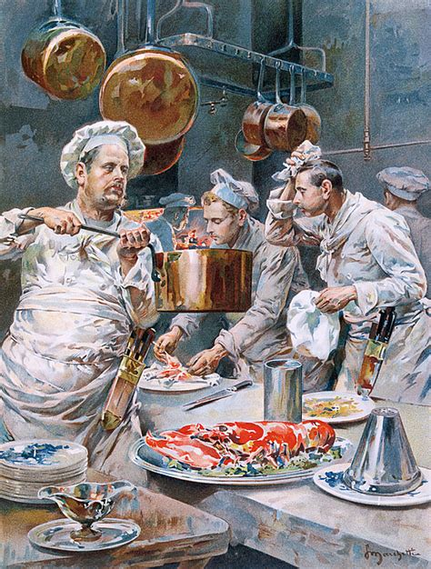 painting cooking in the kitchen painting by g marchetti